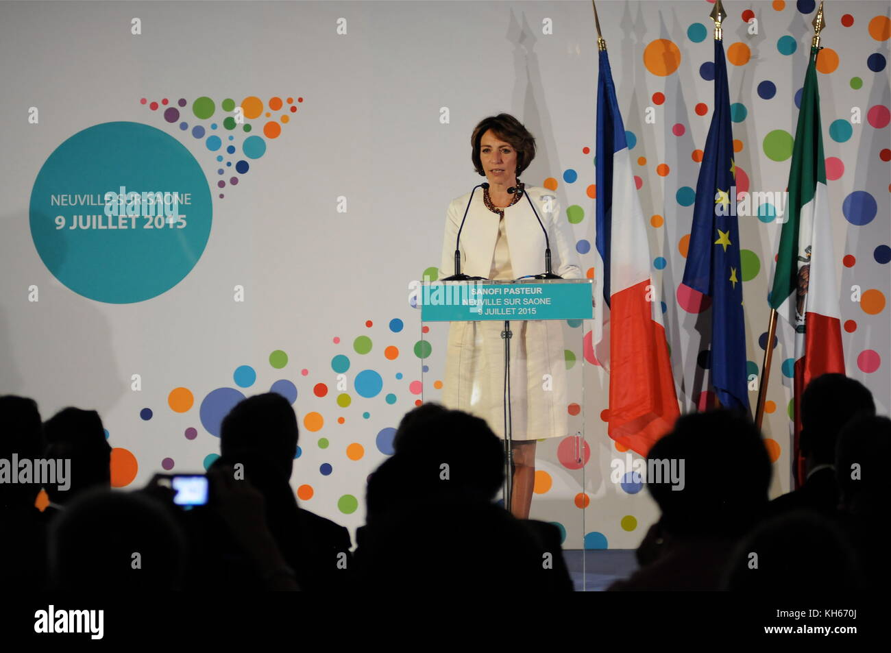 Marisol Touraine, French Health Minister, talks at Sanofi