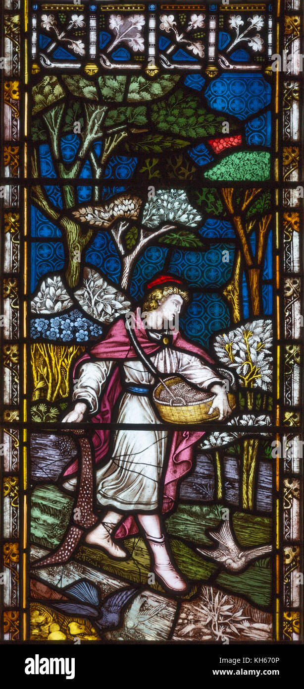 LONDON, GREAT BRITAIN - SEPTEMBER 19, 2017: The Parable of the Sower on the stained glass in St Mary Abbot's - Stock Image