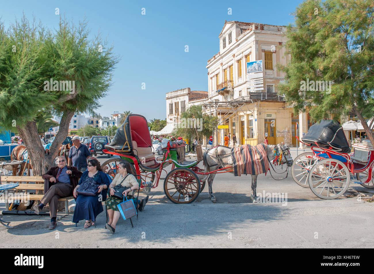 Urban scene from Aegina. Aegina is a Greek island in the Aegean sea belonging to the Saronic islands. - Stock Image