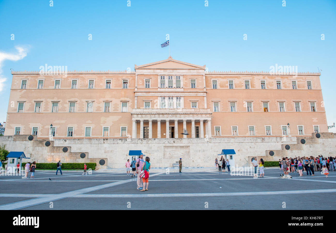 The Old Royal palace housing the Greek Parliament at Syntagma square in Athens - Stock Image