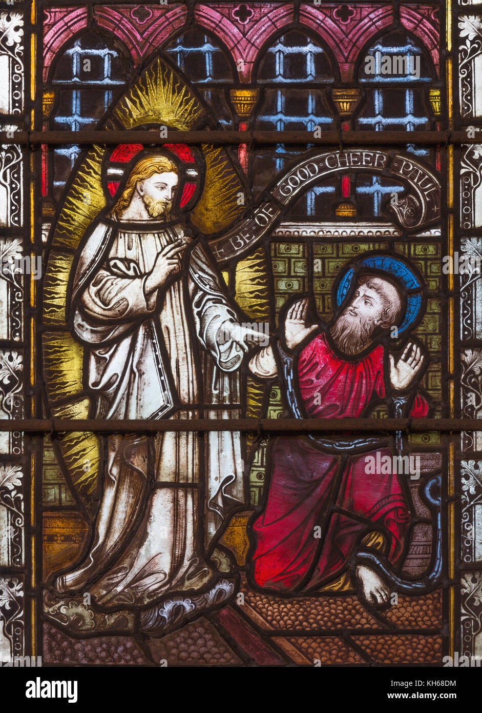 LONDON, GREAT BRITAIN - SEPTEMBER 19, 2017: The apparition of Jesus to St. Paul on Stained glass in St Mary Abbot's - Stock Image