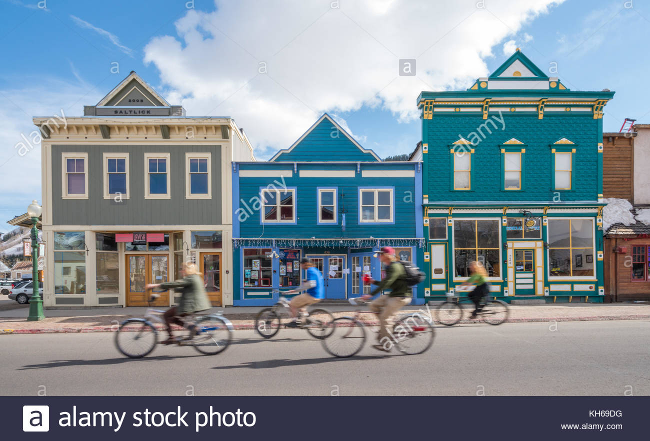 Downtown Crested Butte, Colorado features many century-old buildings of Victorian architecture. Crested Butte is - Stock Image