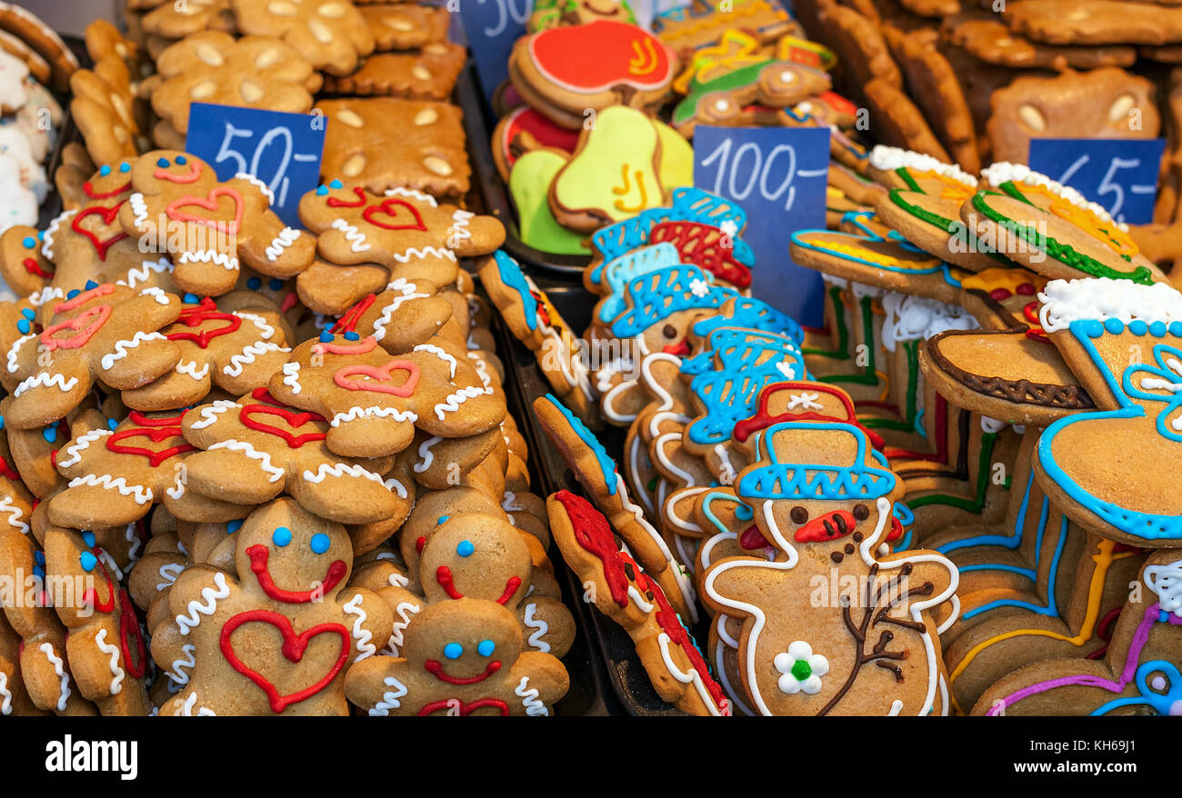 Gingerbread Man Cookies And Other Traditional Christmas Biscuits On