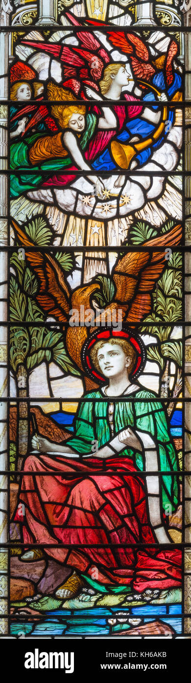 LONDON, GREAT BRITAIN - SEPTEMBER 17, 2017: The vision of Apocalypse of St. John the Evangelist on the stained glass - Stock Image