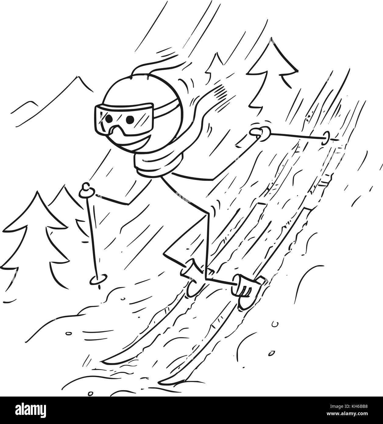 Cartoon drawing illustration of stick man doing extreme ski on snow in mountains. - Stock Vector