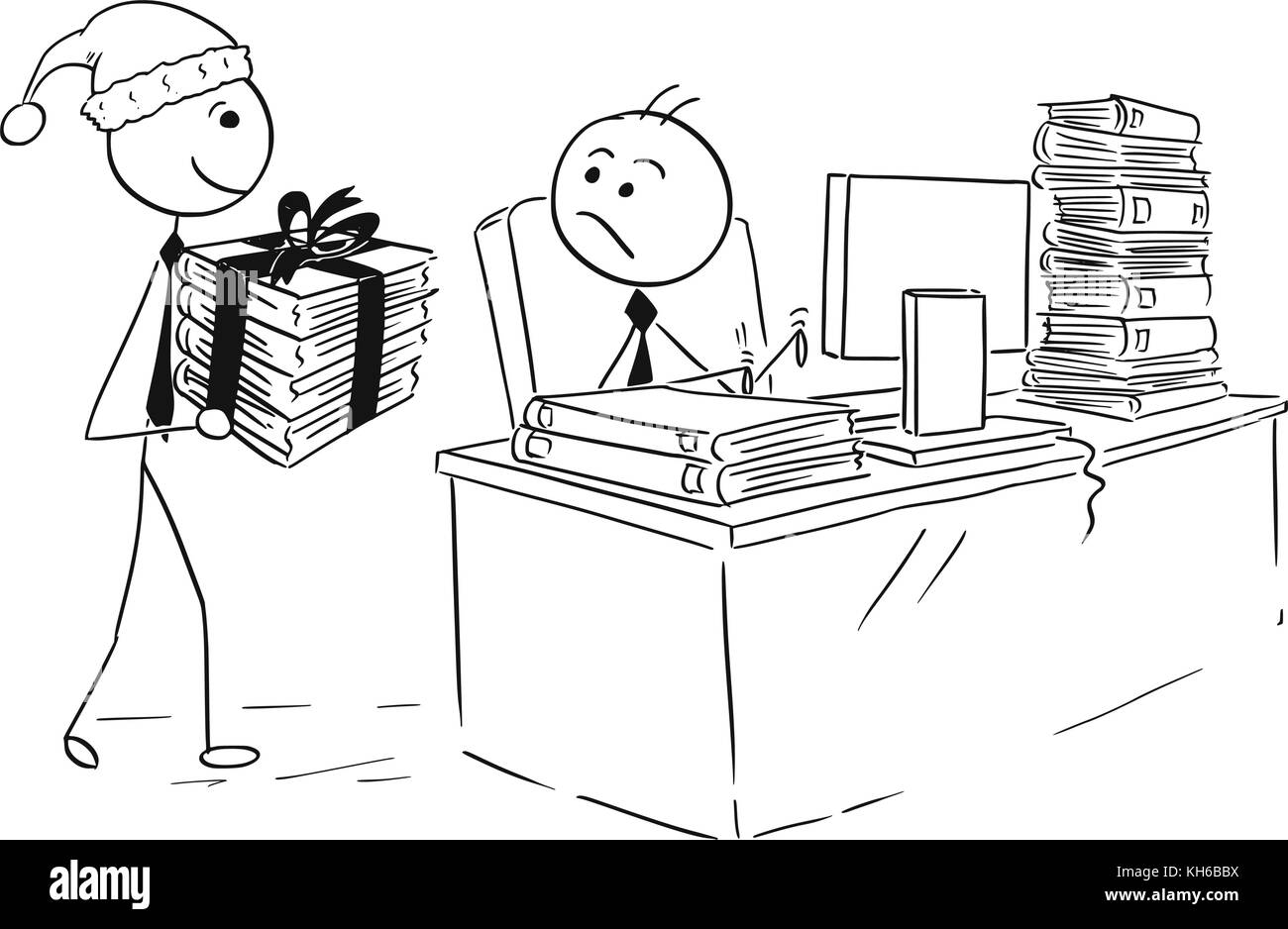 Cartoon stick man drawing illustration of man working on computer in office during Christmas, boss giving him more - Stock Image