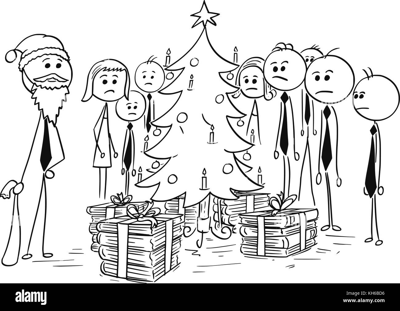 Cartoon stick man drawing illustration of group of business people standing around  Christmas tree; boss in Santa - Stock Image
