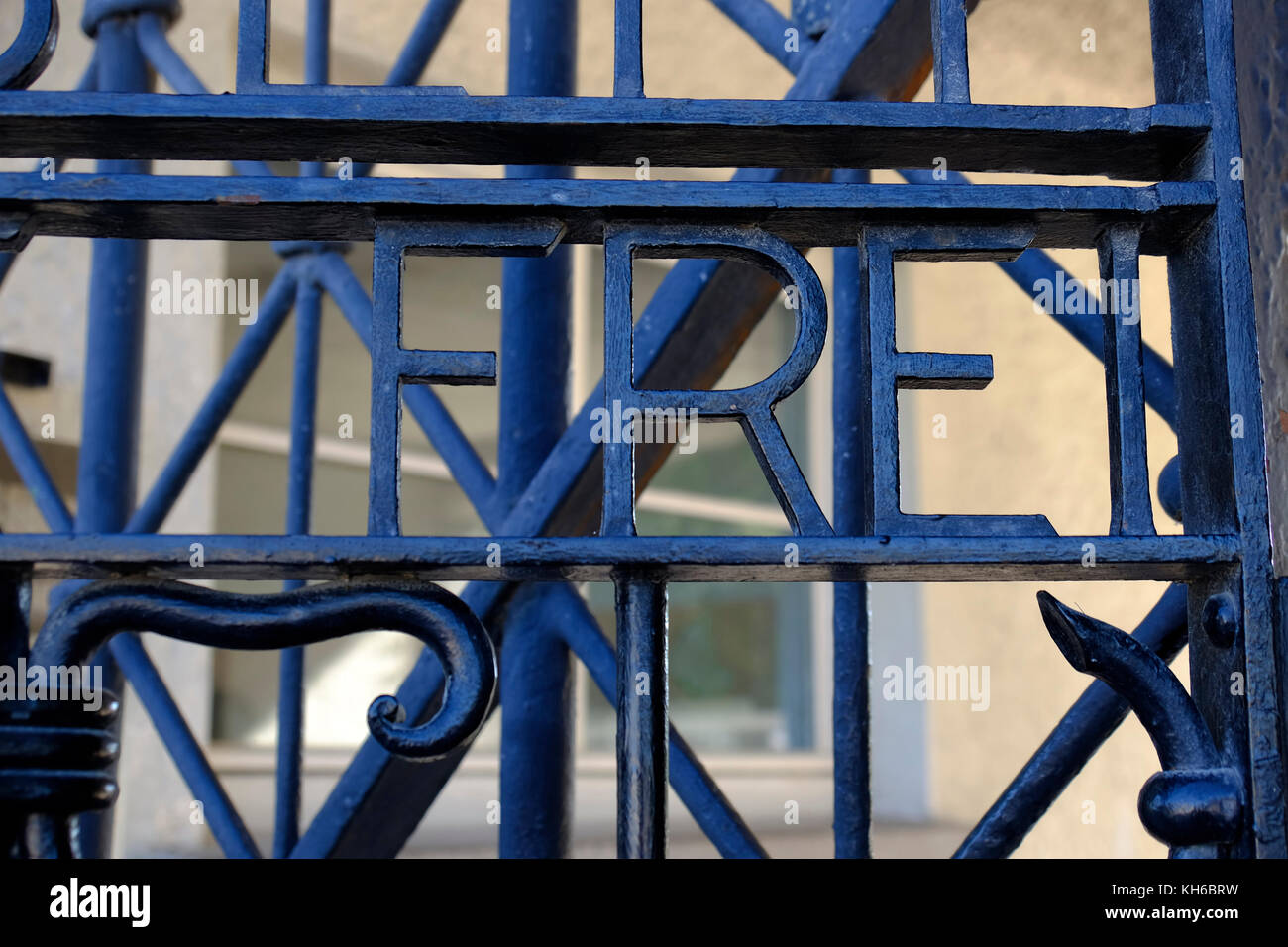 Arbeit macht frei. Dachau concentration camp, Germany. - Stock Image