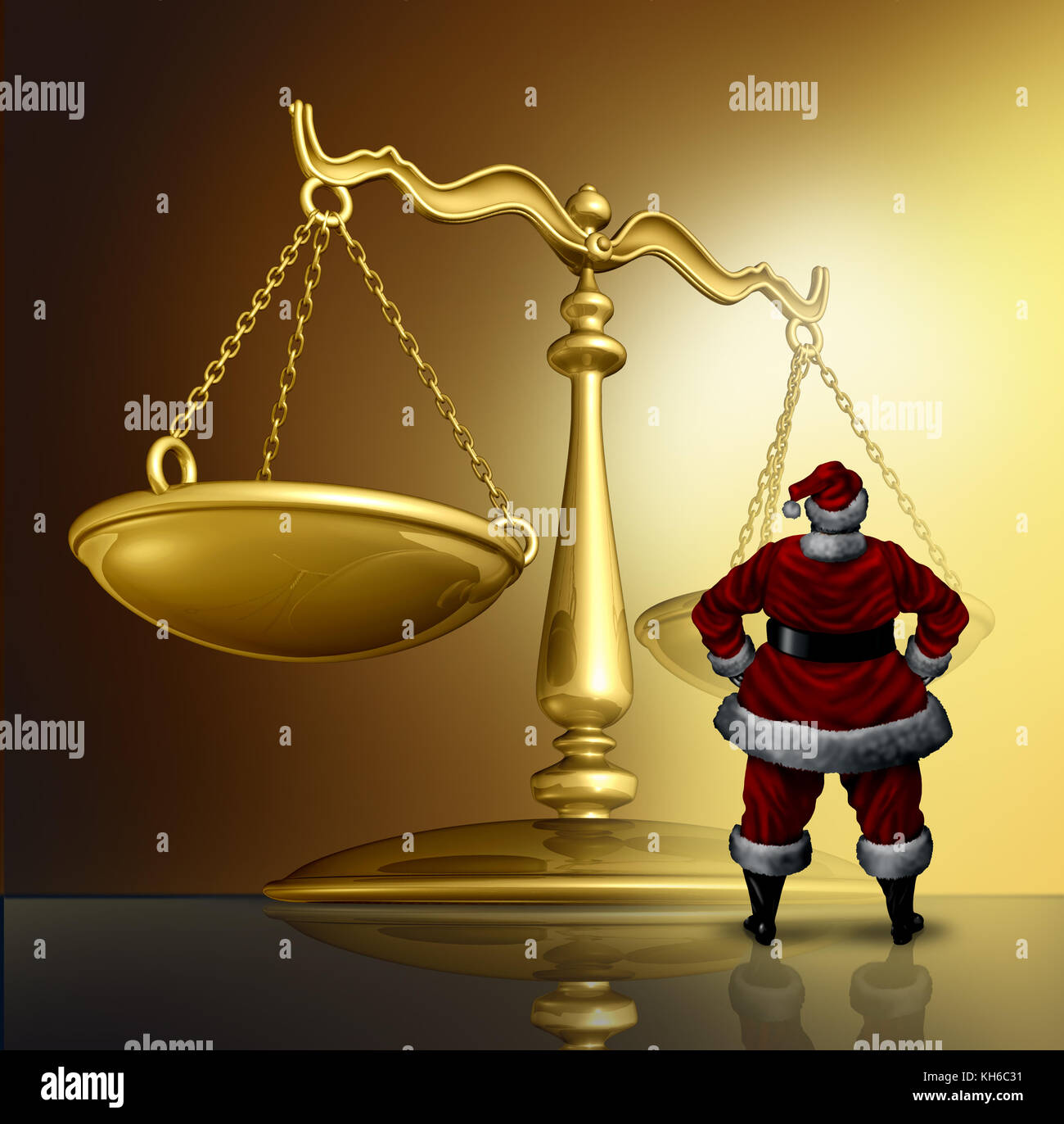 Christmas law and winter holiday legal issues as santaclaus standing in front of a justice scale with 3D render - Stock Image