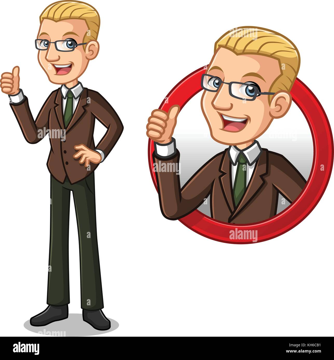 Set of blonde businessman in brown suit cartoon character design, inside the circle logo concept with showing like, - Stock Image