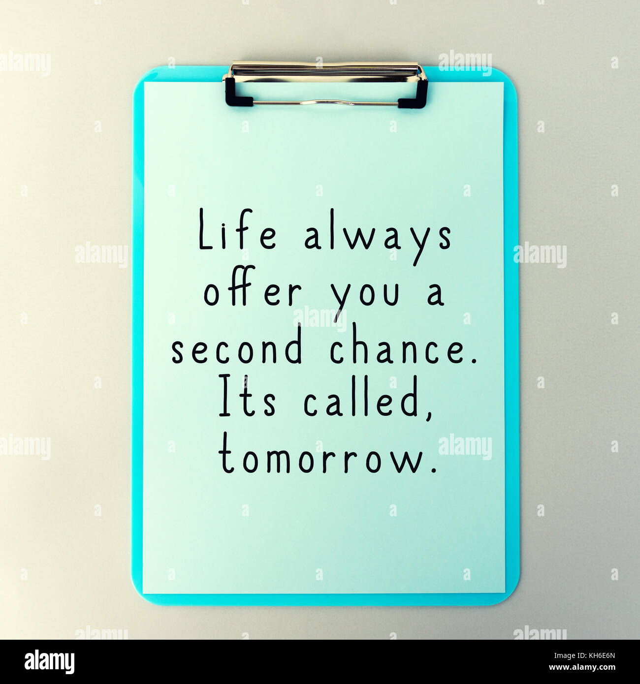 Life Inspirational And Motivational Quotes - Life Always Offer You A Second Chance. Its Called Tomorrow. - Stock Image