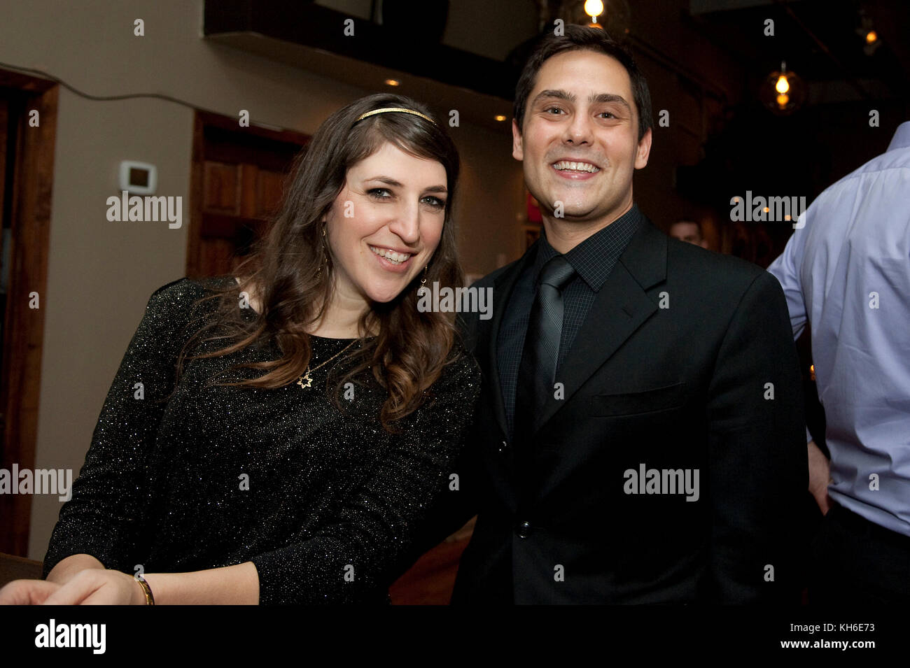 Mayim Bialik with her book publicist at the launch party for her new book, 'Beyond The Sling' at Cafe Blossom - Stock Image