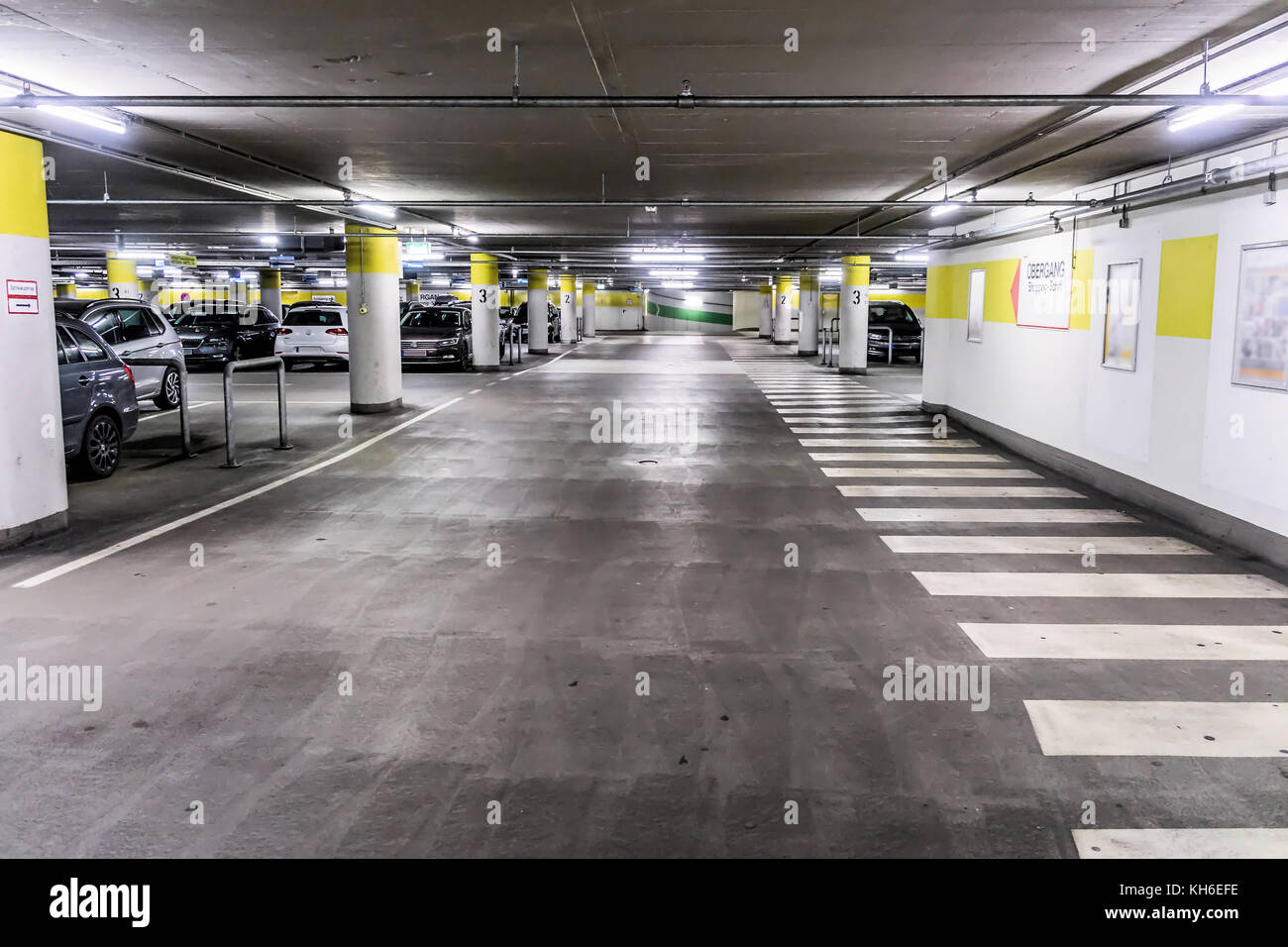 Basement Of An Underground Car Park For Cars At The Edge Wolfsburg Lower Saxony