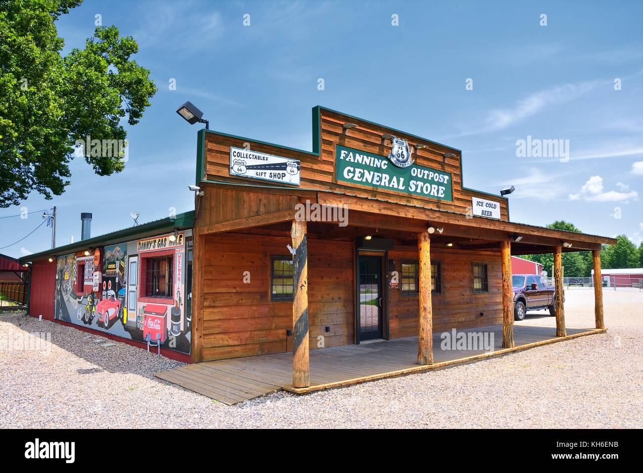 Fanning, Missouri - July 18 2017: Fanning outpost general store on the Route 66 in Missouri, Usa. - Stock Image