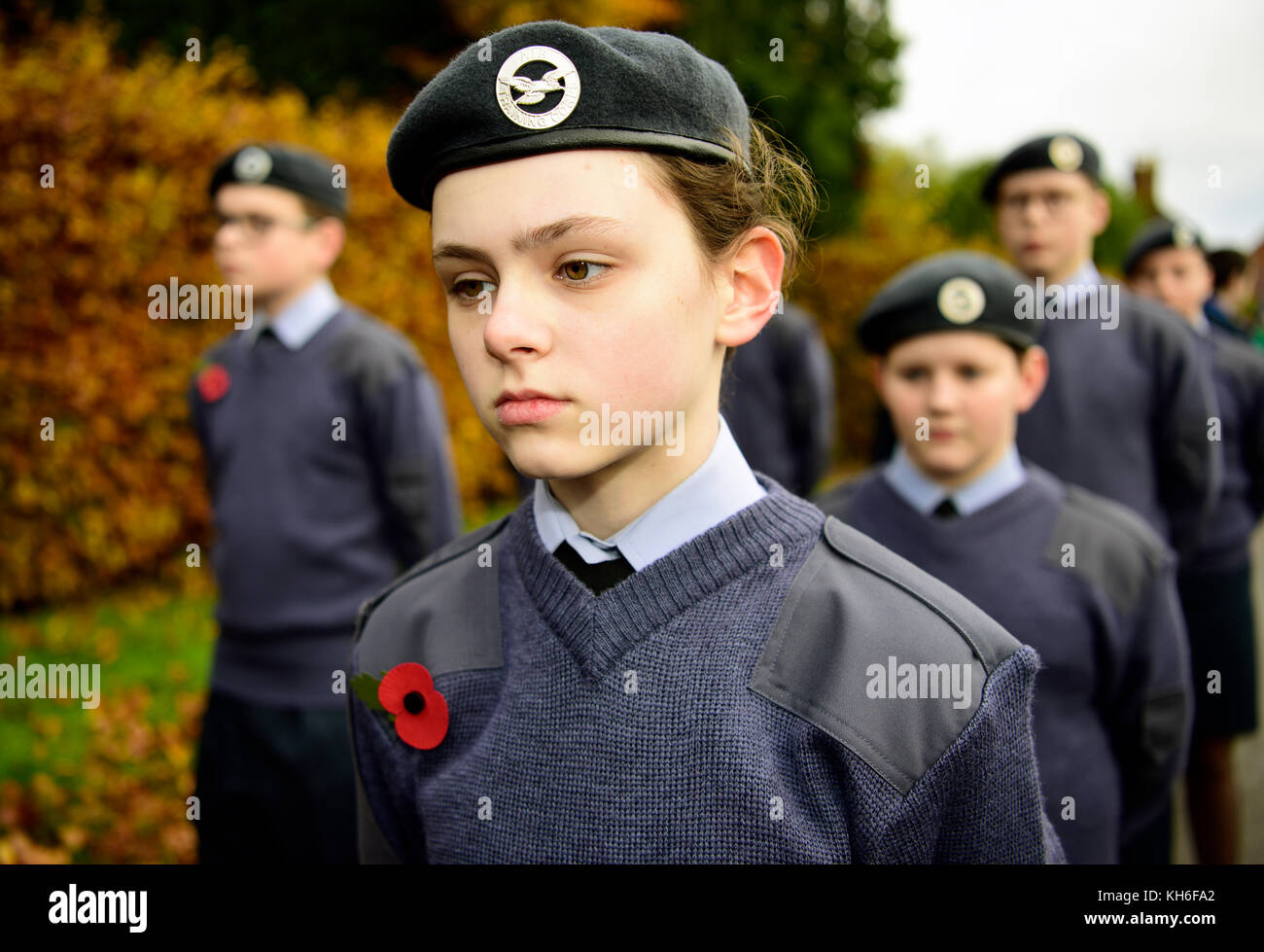 Haslemere Air Training Corps on parade during Remembrance Sunday, Haslemere, Surrey, UK. Sunday 12th November 2017. - Stock Image