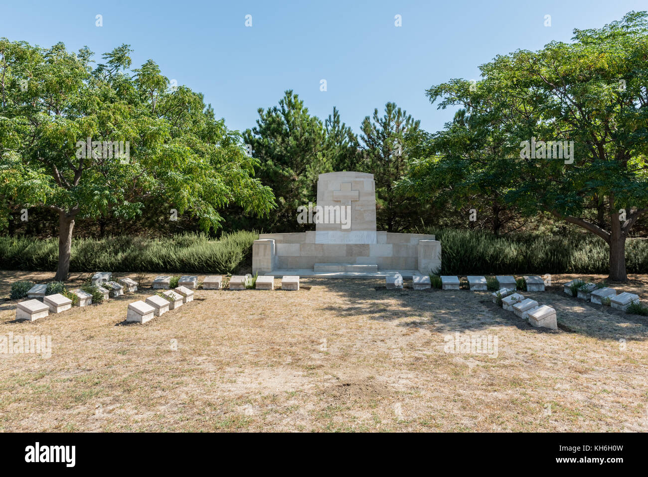 Green Hill Cemetery.The cemetery lies on the east side of the Anzac-Suvla Road in Canakkale,Turkey. - Stock Image