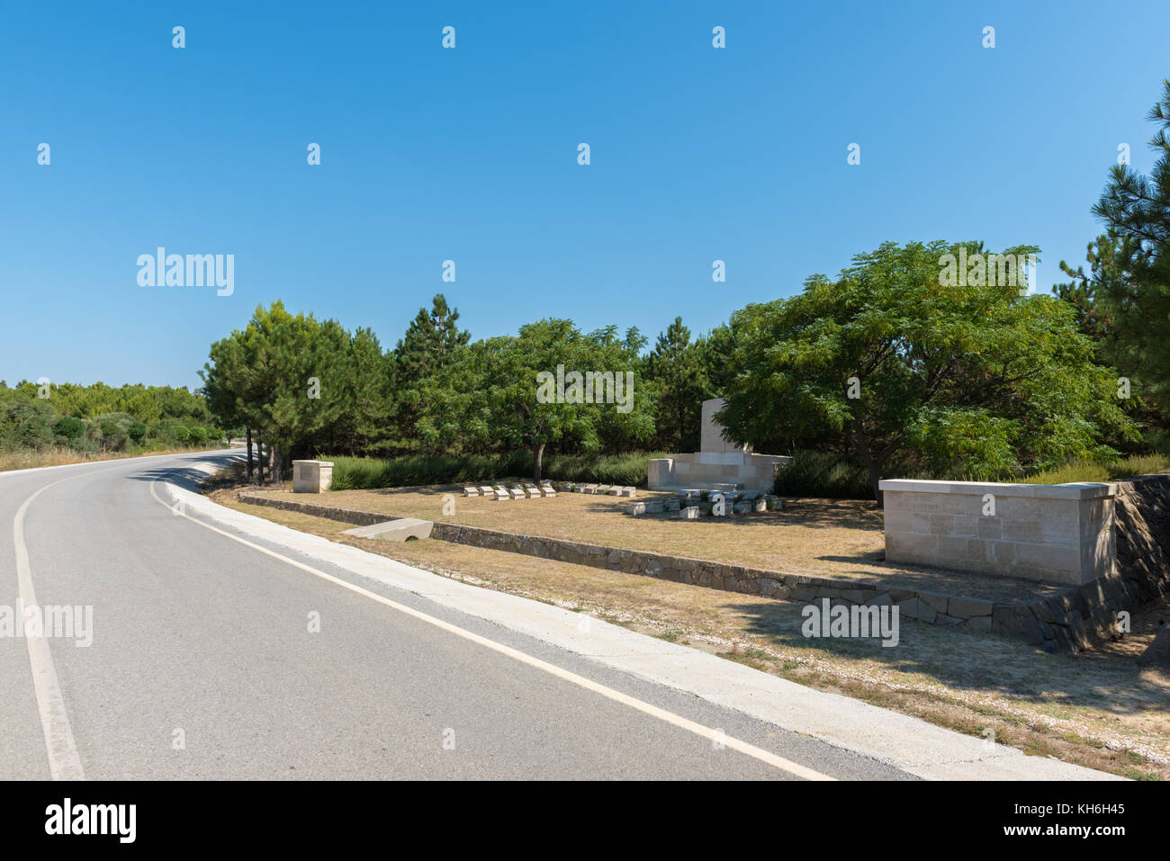 Cemetery which lies on the east side of the Anzac-Suvla Road in Canakkale,Turkey. - Stock Image