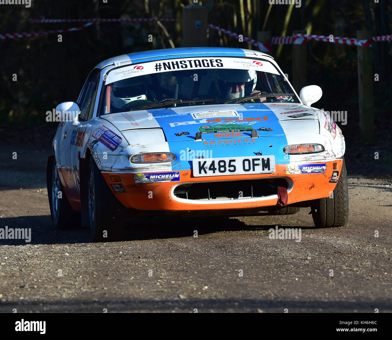 Paul Sheard, Shaun Hughes, Mazda MX5, MGJ Rally Stages, Chelmsford Motor Club, Brands Hatch,  Saturday, 21st January - Stock Image