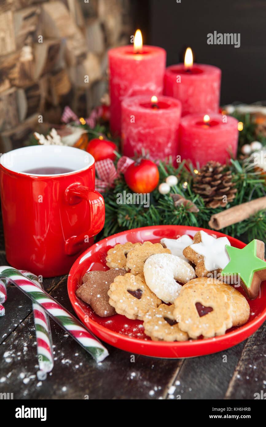 Yummy Christmas Cookies And A Mug Of Hot Tea Christmas Time Stock Photo Alamy