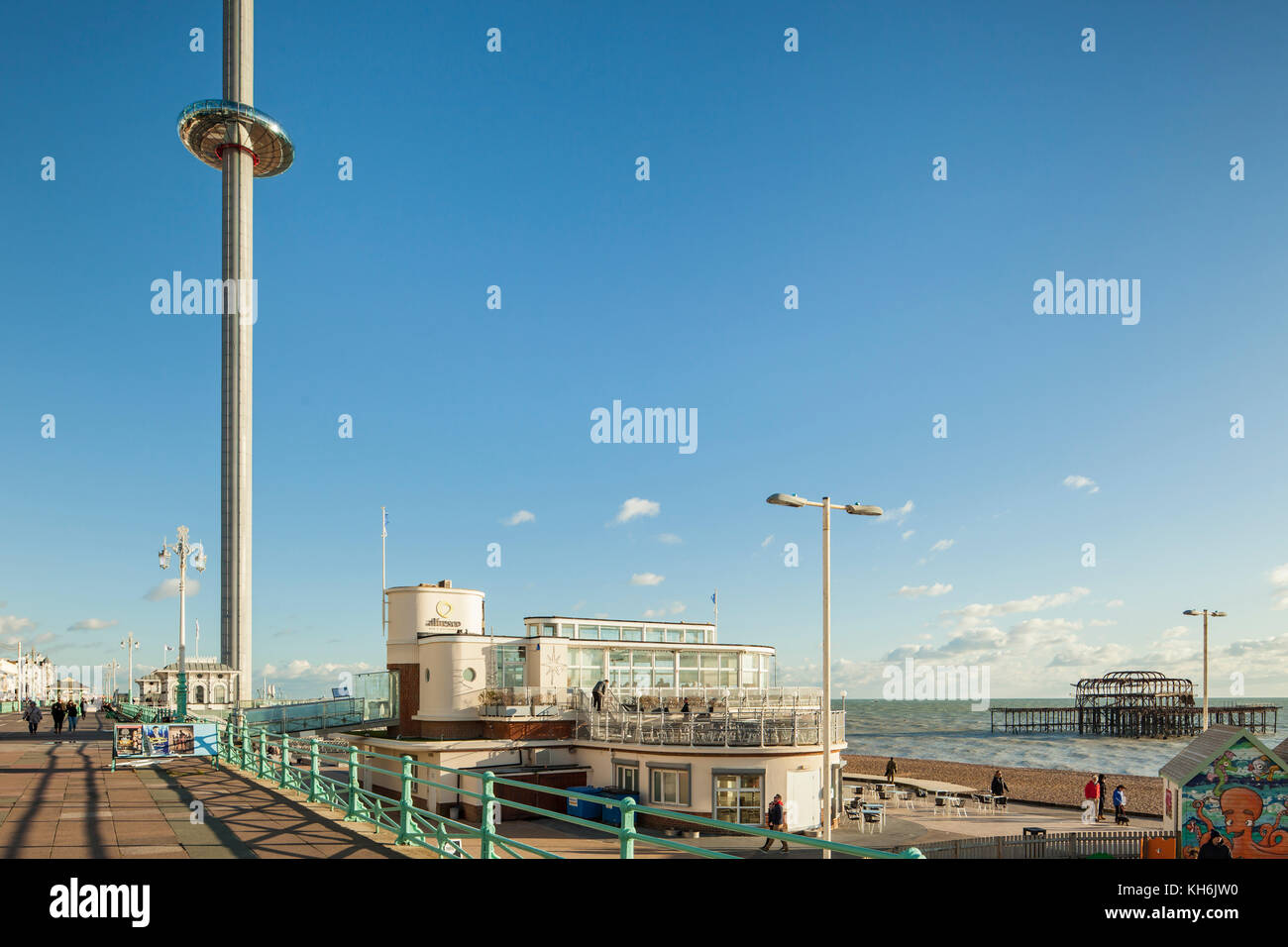 Autumn afternoon on Brighton seafront, East Sussex, England. - Stock Image
