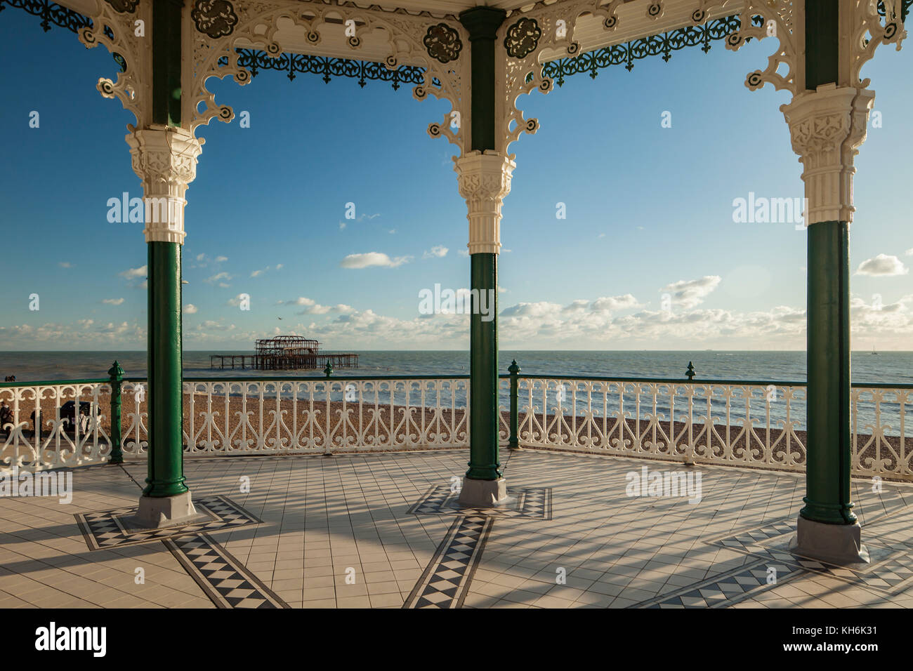 Sunny autumn afternoon at Brighton Bandstand, East Sussex, England. - Stock Image