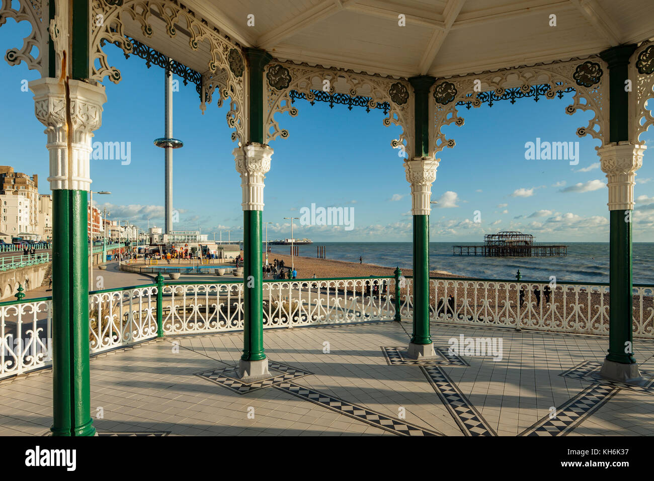 A view from Brighton Bandstand towards West Pier and i360 tower, East Sussex, England. - Stock Image