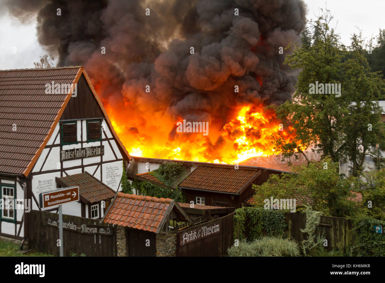 Brand Kaufhalle Guentersberge - Stock Image