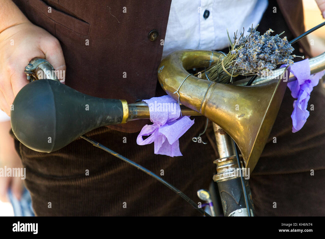 Europe, France, Vaucluse, (84), Pays de Sault. Lavender festival, detail of a old bicycle. - Stock Image