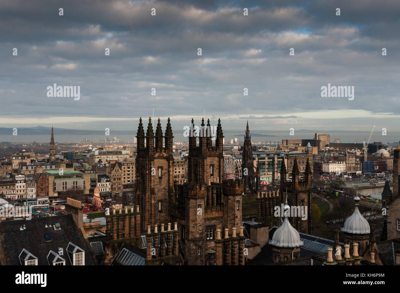 The skyline from Edinburg Castle showing the Walter Scott Monument - Stock Image
