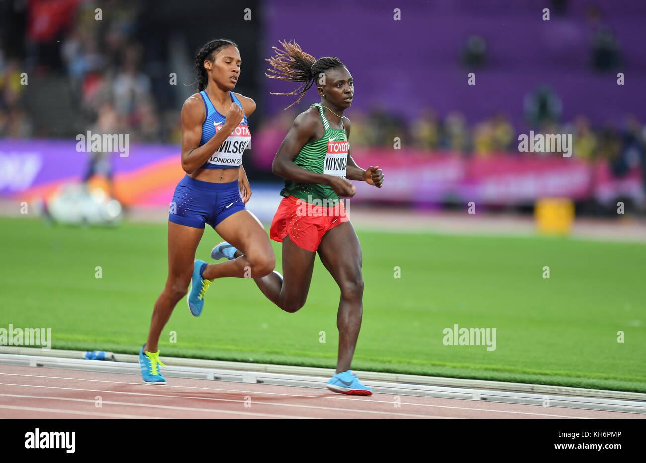 Ajee Wilson (USA) and Francine Niyonsaba (Burundi) - 800m women Bronze Medal - IAAF World Championships - London Stock Photo
