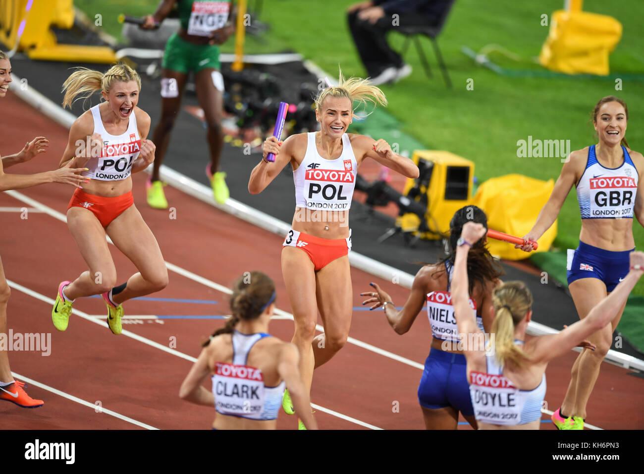 Polish team celebration - 4x400 Metres Relay women - IAAF World Championships - London 2017 - Stock Image