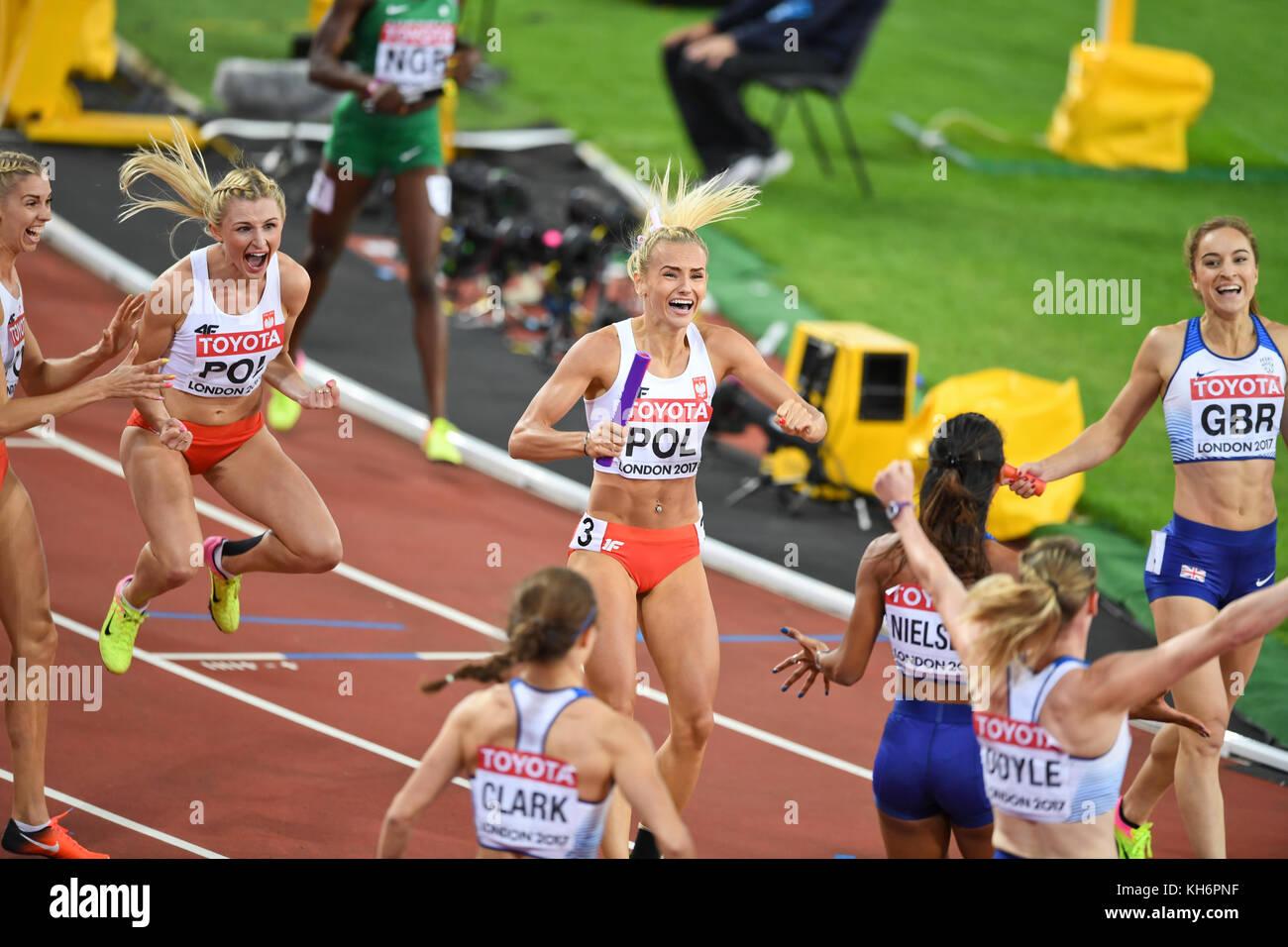 Polish team celebration - 4x400 Metres Relay women - IAAF World Championships - London 2017 Stock Photo