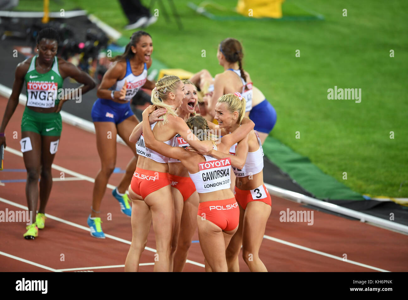 Polish team celebration - 4x400 Metres Relay women - IAAF World Championships - London 2017 - Stock Image