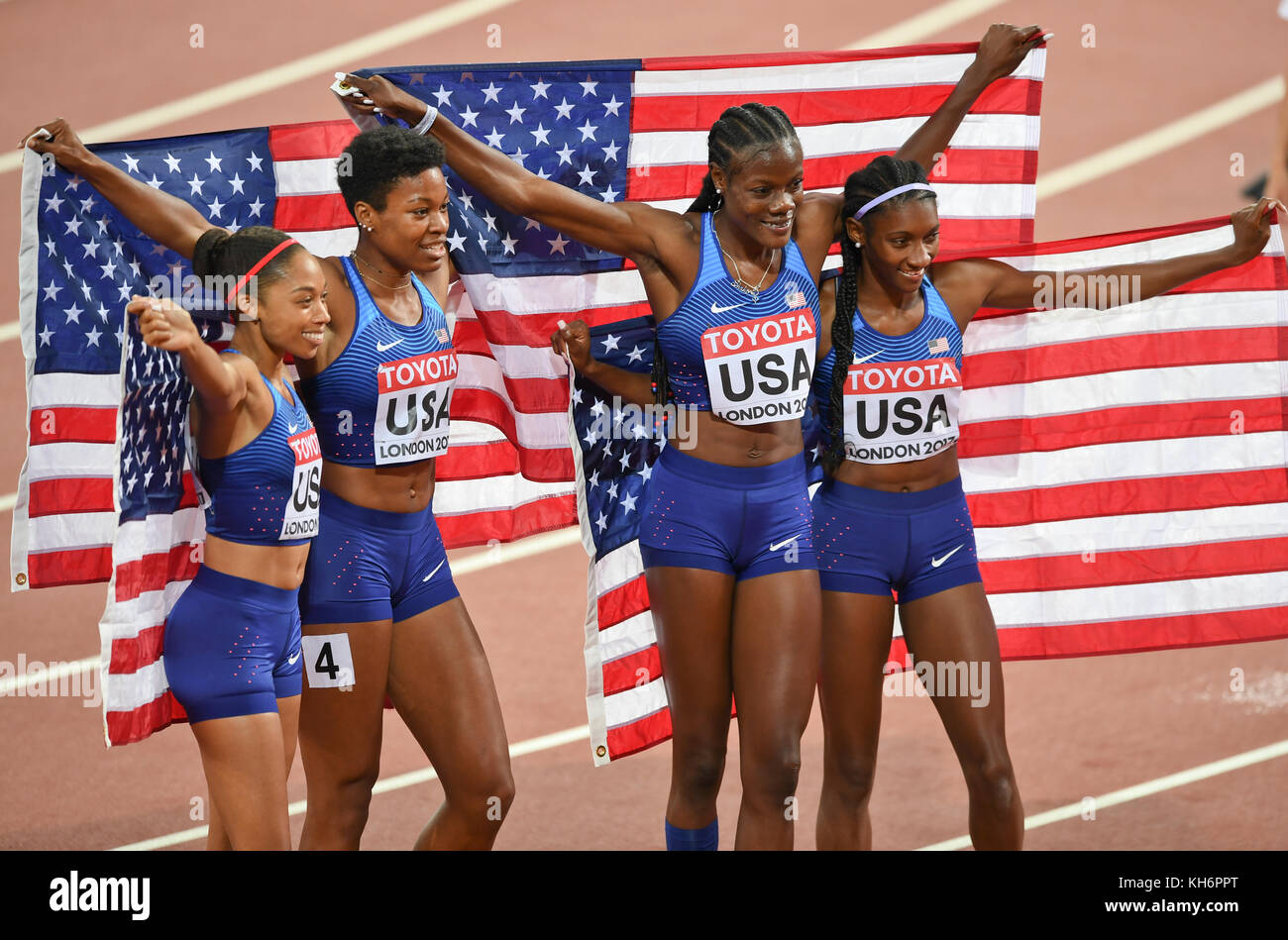 USA Team - 4x400 relays Gold Medal - IAAF World Championships - London 2017 - Stock Image