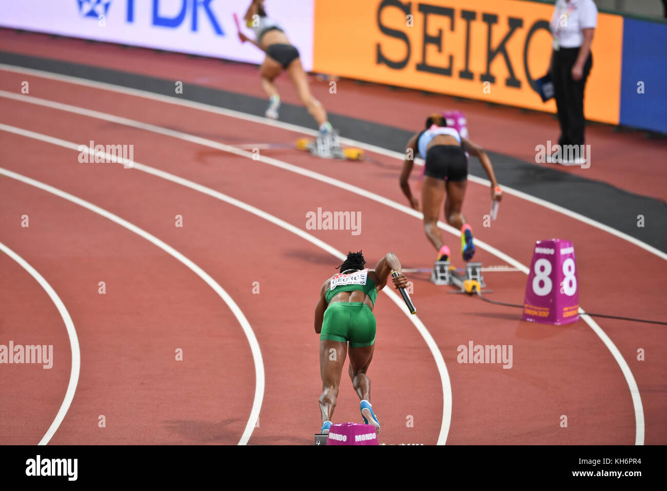 4x400 relays women - IAAF World Championships - London 2017 - Stock Image