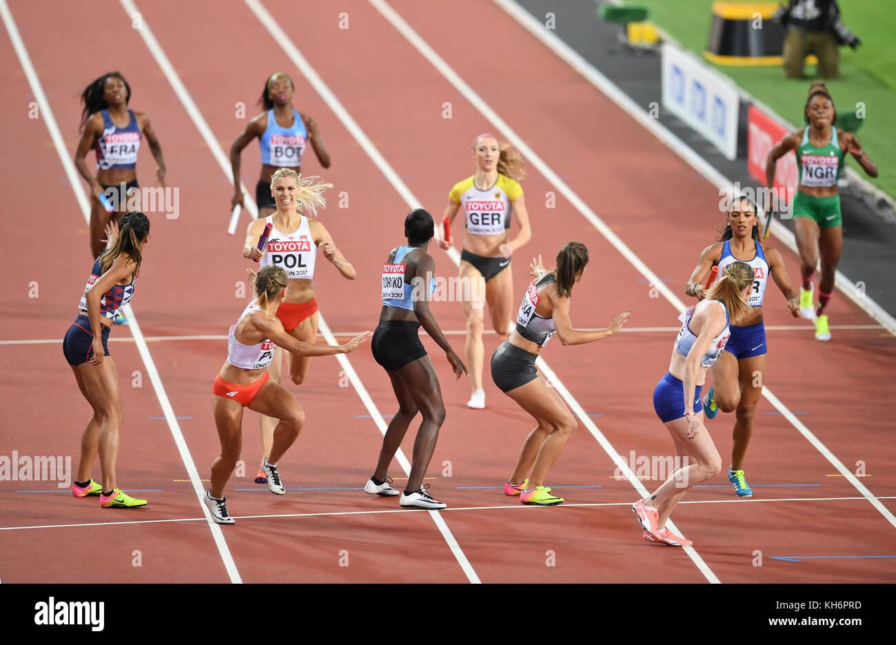 4x400 relays women - IAAF World Championships - London 2017 - Stock Image