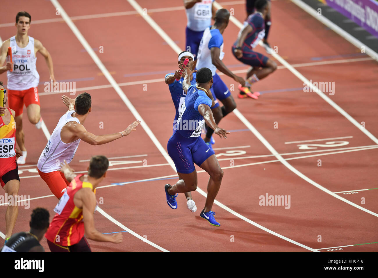 USA Team - 4x400 Men's relays - IAAF World Championships - London 2017 - Stock Image