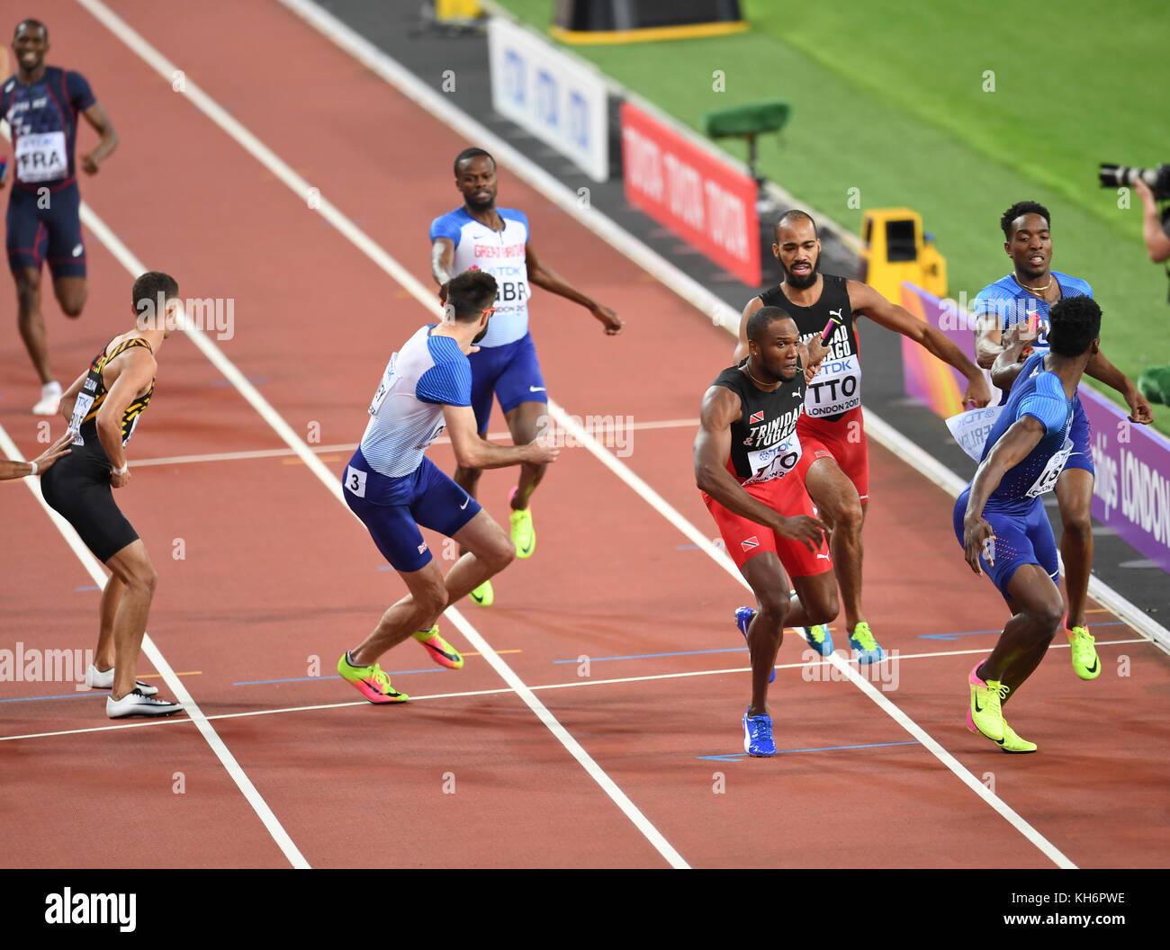 Trinidad & Tobago - 4x400 Men's relays Gold Medal - IAAF World Championships - London 2017 - Stock Image