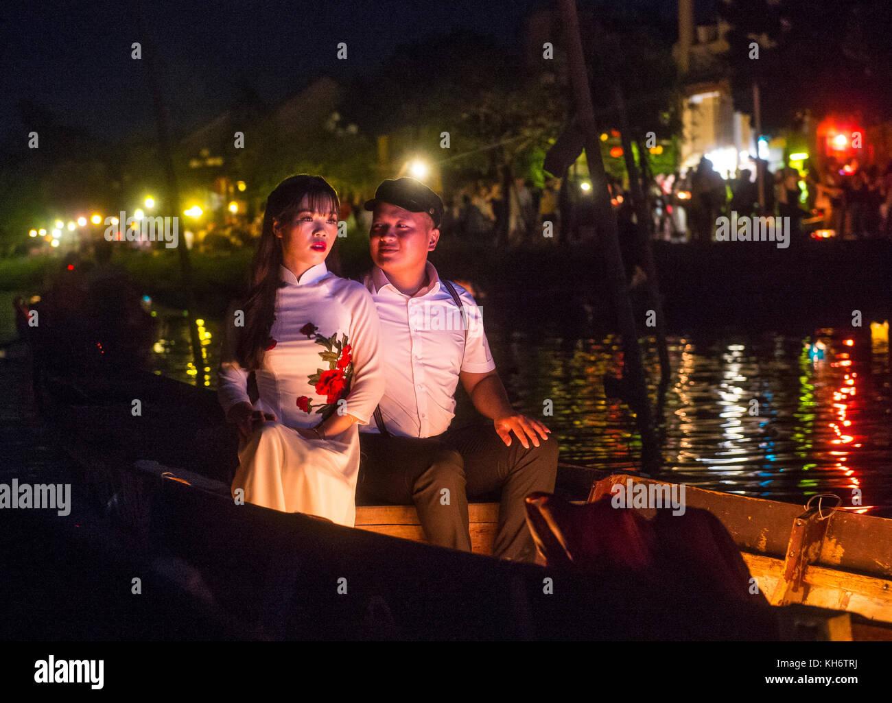 Hoi An Vietnam Oct 04 Vietnamese Couple Dropping Lantern Into Stock Photo Alamy