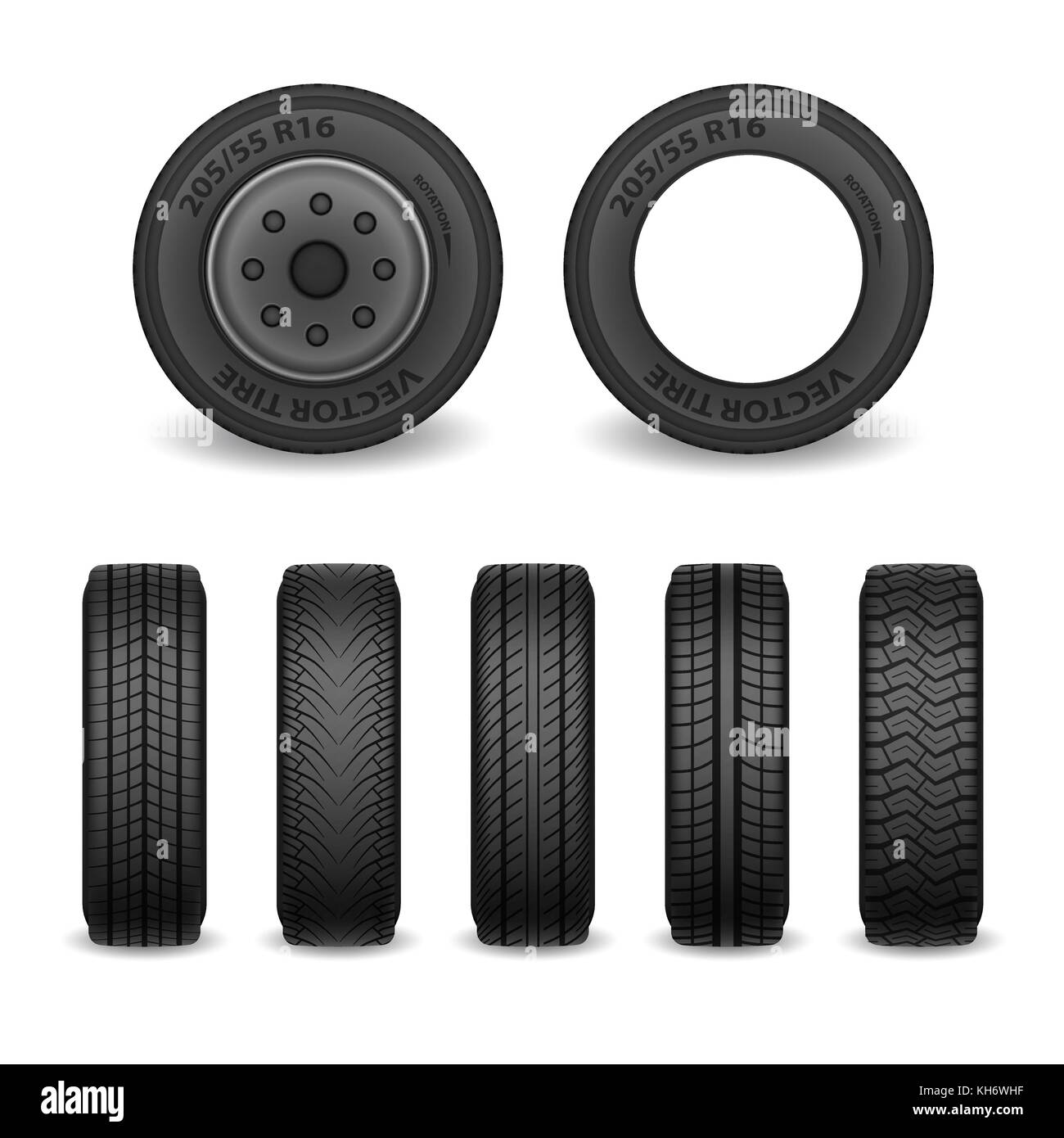 Realistic vector tires set. Car tires with different tread marks. Vector wheel icons - Stock Image