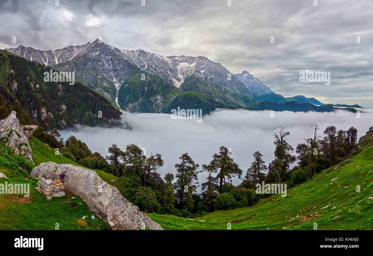 view of Dhaulandhar Range of Himalayas from Mcleodganj in Himachal Pradesh. Stock Photo