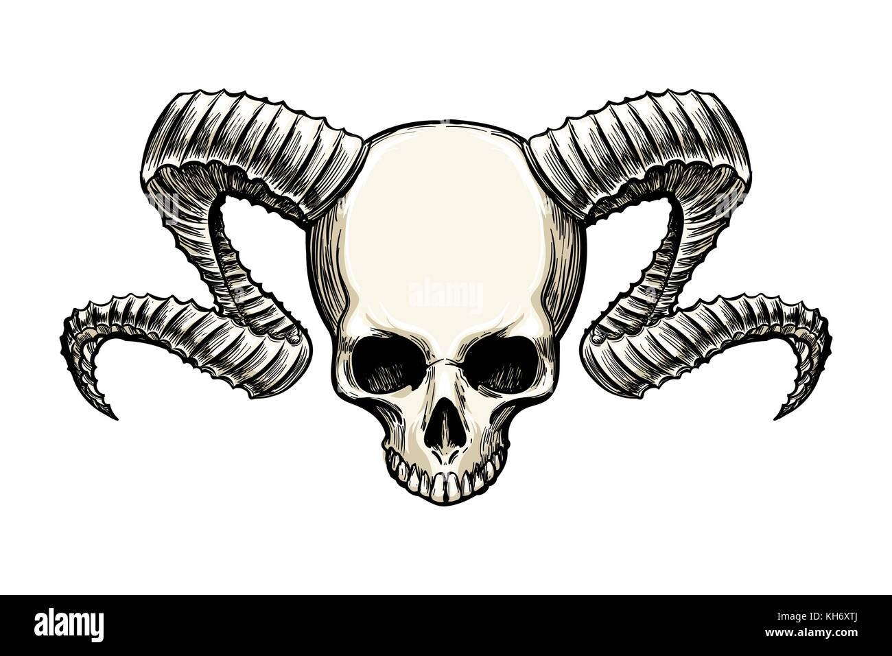 Cuernos De Diablo Png: Human Skull With Ram Horns Drawn In Sketh Tattoo Style