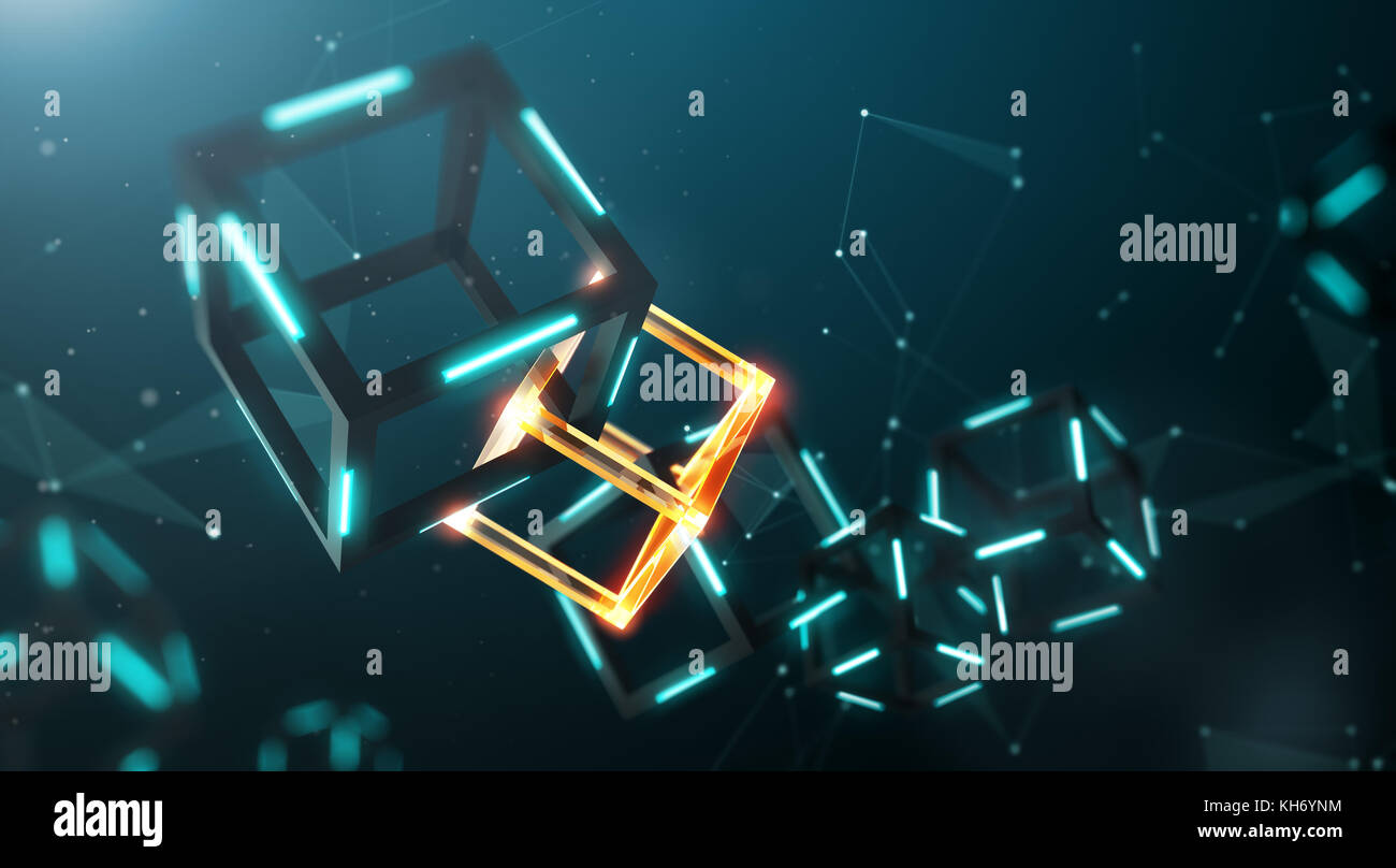 Blockchain technology with abstract background - Stock Image