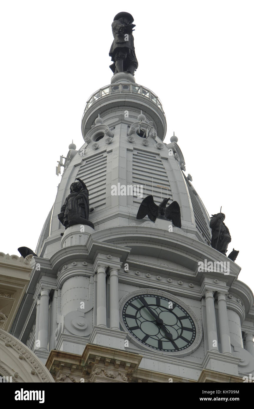 United States. Pennsylvania. Philadelphia. City Hall. Built between 1871-1901. Dome decorated with the statue of the founder of the city, William Penn (1644-1718). Stock Photo