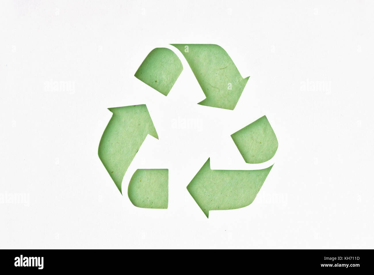 Recyclig symbol on recycled paper - Stock Image