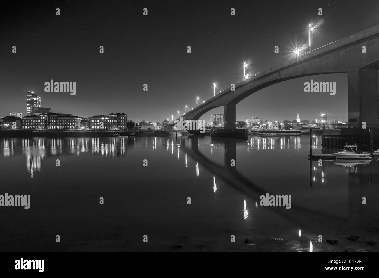 Illuminated Itchen bridge over the Itchen River at night in 2017, black and white image,Southampton, England, UK - Stock Image