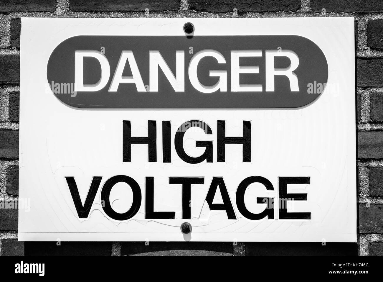 High Voltage Sign Black and White Stock Photos & Images - Alamy