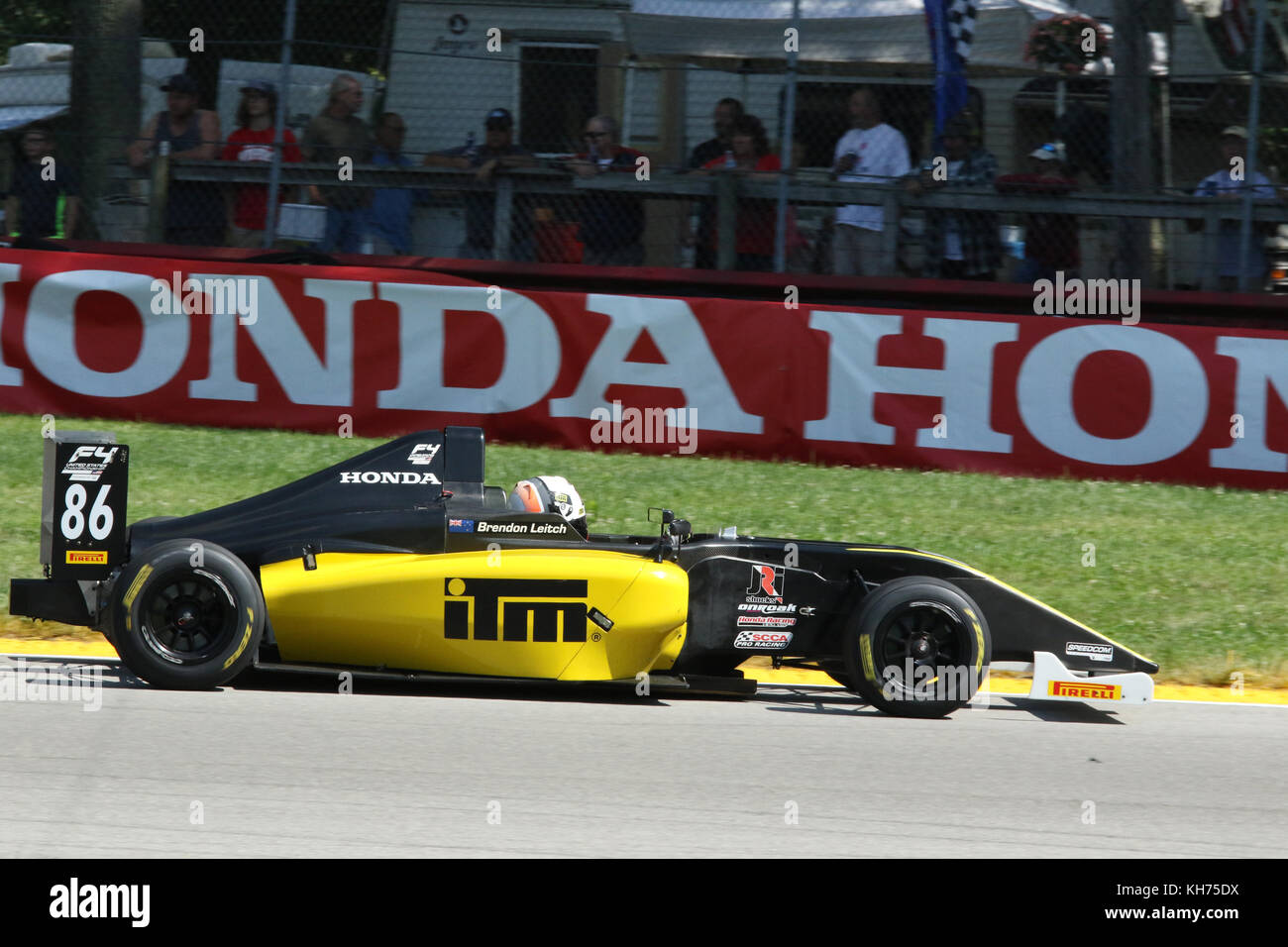 Brendon Leitch. Car 86. Sponsor Kiwi Motorsport. Formula 4 Race. Mid-Ohio Sports Car Course. Lexington, Mansfield, - Stock Image