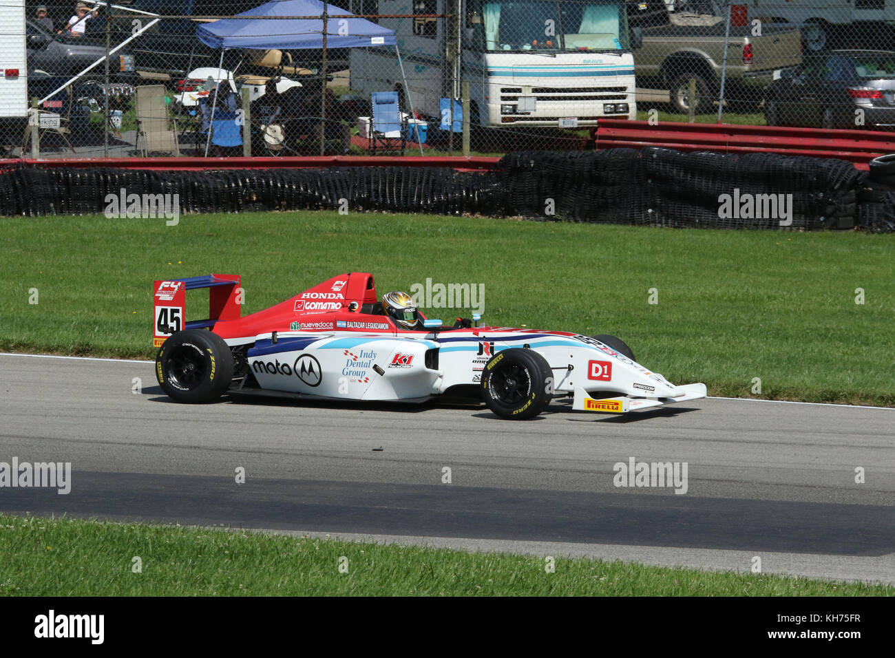 Baltazar Leguizamon. Car 45. Formula 4 Race. Mid-Ohio Sports Car Course. Lexington, Mansfield, Ohio, USA. - Stock Image