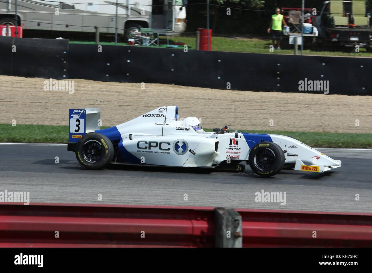 Vincent Khristov. Car 3. Formula 4 Race. Mid-Ohio Sports Car Course. Lexington, Mansfield, Ohio, USA. - Stock Image